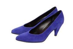 蓝色穿上鞋子绒面革 免版税图库摄影