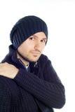 蓝色穿戴的英俊的人年轻人 库存图片