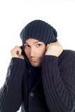 蓝色穿戴的英俊的人年轻人 库存照片