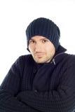 蓝色穿戴的英俊的人年轻人 免版税库存图片