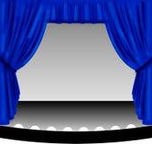 蓝色窗帘阶段 免版税库存图片
