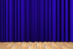 蓝色窗帘阶段 图库摄影