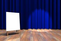 蓝色窗帘阶段 库存图片
