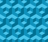 蓝色立方体几何无缝的样式 库存照片