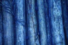 蓝色竹墙壁纹理背景 网站或移动设备的木纹理 免版税图库摄影