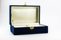 蓝色笔箱子 免版税库存图片