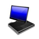 蓝色笔记本个人计算机片剂 免版税库存照片