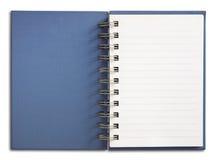 蓝色笔记本页唯一垂直的白色 免版税库存照片