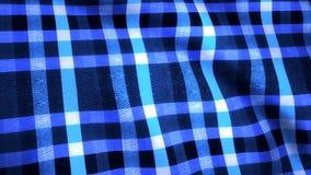 蓝色笼子织品backgrond 作为背景织品 在一只白色蓝色笼子的两端有绒穗之布 库存照片