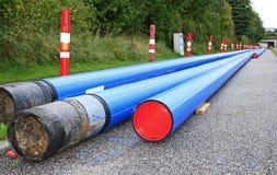 蓝色管道系统pvc 库存图片
