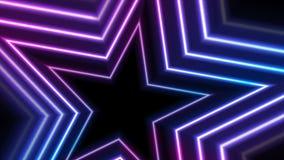 蓝色紫外霓虹发光的星录影动画 皇族释放例证