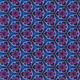 蓝色红色万花筒纸样式 免版税图库摄影