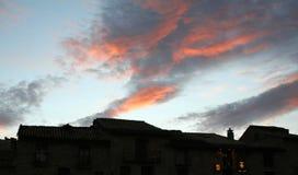 蓝色红色天空 库存图片