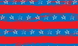 蓝色红色白色星条旗难看的东西的无缝的样式 皇族释放例证
