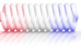 蓝色红色螺旋白色 库存图片