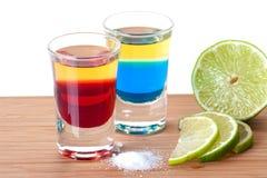 蓝色红色龙舌兰酒 库存照片