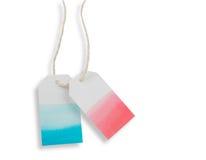 蓝色红色水彩标签或价牌纸隔绝与p 库存照片