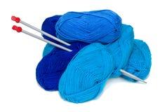 蓝色纱线 库存图片