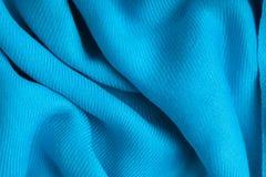 蓝色纺织品纹理背景摘要布料波浪折叠  库存照片