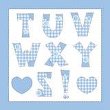 蓝色织品字母表。 免版税库存照片