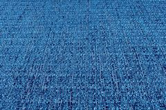 蓝色织品纹理 抽象背景,空的模板 免版税库存照片