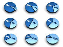 蓝色绘制饼图表 库存图片