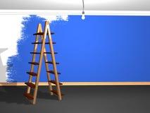 蓝色绘画墙壁 库存照片