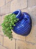 蓝色给上釉的罐 库存图片