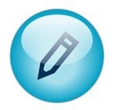 蓝色编辑玻璃状图标 库存照片