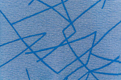 蓝色编织了与抽象线的织品背景的 免版税库存图片