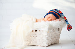 蓝色编织盖帽的逗人喜爱的新出生的婴孩睡觉在篮子的 免版税库存图片