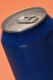 蓝色罐头 库存图片