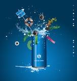 蓝色罐子向量 免版税图库摄影