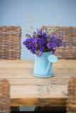 蓝色罐子浇灌的花盆 免版税库存照片