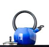 蓝色罐茶 库存照片