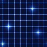 蓝色网或栅格与走路的星-无缝的背景 库存照片