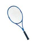 蓝色网球拍被隔绝的白色背景 库存图片