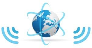 蓝色网络行星通知 库存照片