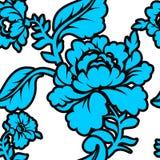 蓝色罗斯无缝的样式 减速火箭的花卉纹理 库存照片