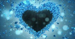 蓝色罗斯花瓣在心脏塑造阿尔法表面无光泽的圈占位符4k