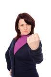 蓝色羊毛衫黑暗妇女 免版税库存图片