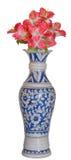 蓝色美丽的古色古香的花瓶粉红色花HDR 库存照片