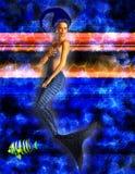 蓝色美人鱼游泳 库存图片
