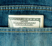 蓝色美元一百个牛仔裤矿穴 免版税库存图片