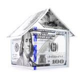 蓝色美元房子,在白色背景的金钱庄园 免版税库存图片