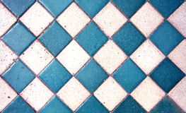 蓝色老样式正方形瓦片纹理/地板 免版税库存图片