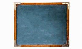 蓝色老脏的葡萄酒木空的学校黑板或减速火箭的黑板有被风化的框架白色背景 免版税库存照片