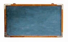 蓝色老脏的葡萄酒木空的宽黑板或减速火箭的黑板有被风化的框架的和隔绝在白色 免版税库存照片