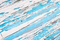 蓝色老被绘的空白木头 免版税库存照片