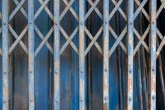 蓝色老钢门 库存照片